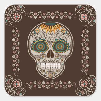 Dia de los Muertos decorative sunflower skull Square Sticker