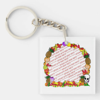 Dia De Los Muertos Fruity Photo Frame Double-Sided Square Acrylic Key Ring