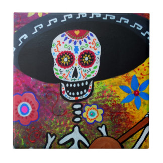 Dia de Los Muertos Gitarero Tiles by Prisarts
