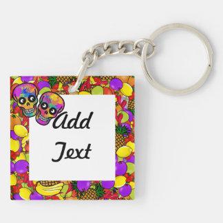 Dia De Los Muertos - Happy Couple W/Fruit Double-Sided Square Acrylic Key Ring