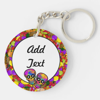 Dia De Los Muertos - Happy Couple W/Fruit Double-Sided Round Acrylic Keychain