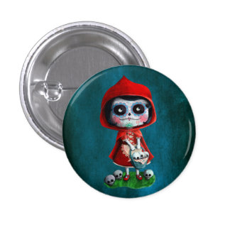 Dia de los Muertos Little Red Riding Hood 3 Cm Round Badge