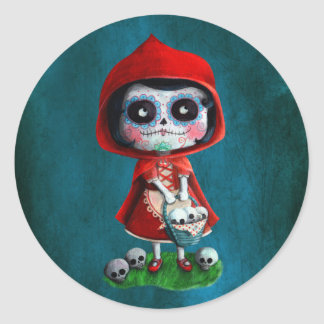 Dia de los Muertos Little Red Riding Hood Round Stickers