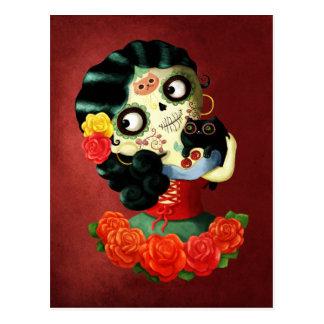 Dia de Los Muertos Lovely Mexican Catrina Girl Postcard