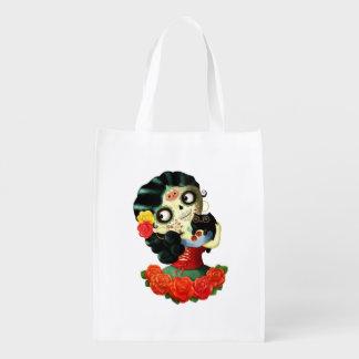 Dia de Los Muertos Lovely Mexican Catrina Girl Reusable Grocery Bag
