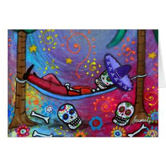 Dia de los Muertos mariachi Siesta by Prisarts Card
