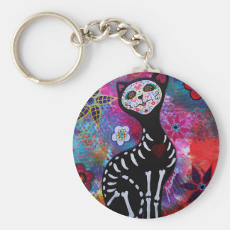 Dia de los Muertos Meow Cat by Prisarts Basic Round Button Key Ring