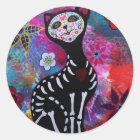 Dia de los Muertos Meow Cat by Prisarts Classic Round Sticker