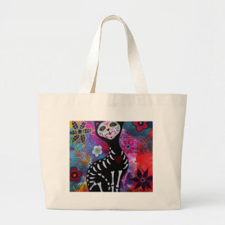 Dia de los Muertos Meow Cat by Prisarts Large Tote Bag