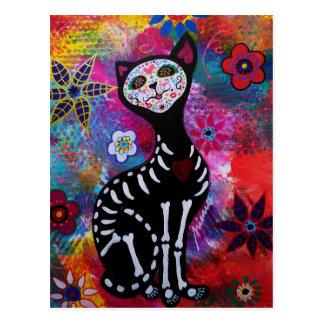 Dia de los Muertos Meow Cat by Prisarts Postcard