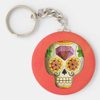 Dia de Los Muertos Mexican Sugar Skull Basic Round Button Key Ring
