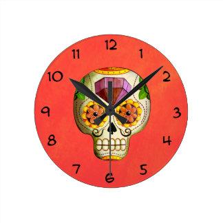 Dia de Los Muertos Mexican Sugar Skull Round Clock