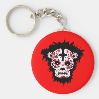 dia de los muertos monkey basic round button key ring