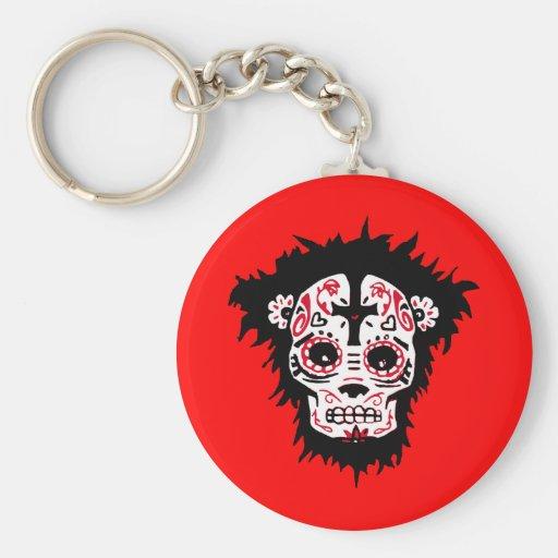 dia de los muertos monkey key chains