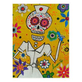 Dia de los Muertos Nurse Postcard