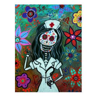 Dia de los Muertos Nurse RN painting Postcard