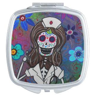 Dia de los Muertos Nurse Square Compact Mirror