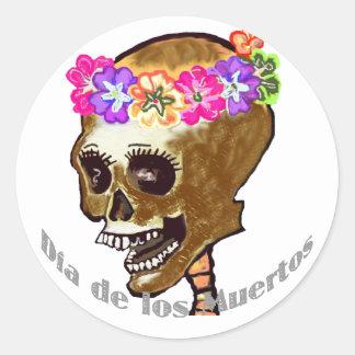 Dia de Los Muertos or Halloween Classic Round Sticker