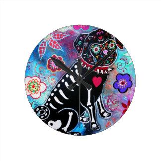 Dia de los Muertos Pug Dog Lover Round Clock