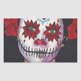 Dia De Los Muertos Red Lady Rectangular Sticker