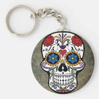 Dia De Los Muertos Red Roses Sugar Skull Basic Round Button Key Ring