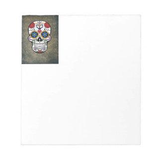 Dia De Los Muertos Red Roses Sugar Skull Notepad