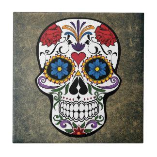Dia De Los Muertos Red Roses Sugar Skull Tile