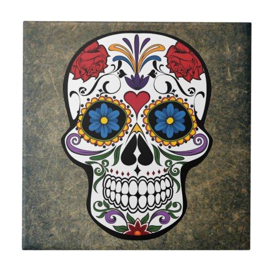 Dia De Los Muertos Red Roses Sugar Skull