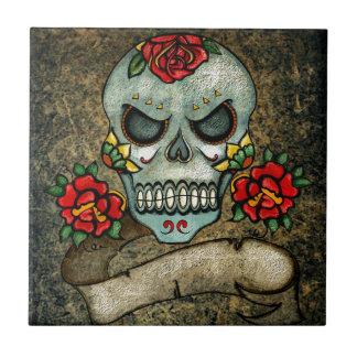 Dia De Los Muertos Rose Sugar Skull Tile