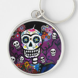 DIA DE LOS MUERTOS Silver-Colored ROUND KEY RING