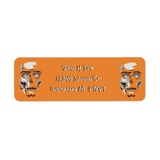 Dia de Los Muertos Skeleton Halloween Orange Label Return Address Label