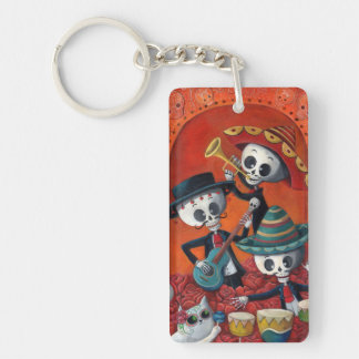 Dia de Los Muertos Skeleton Mariachi Trio Single-Sided Rectangular Acrylic Key Ring