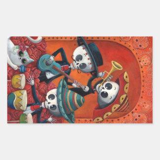 Dia de Los Muertos Skeleton Mariachi Trio Rectangle Stickers