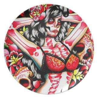 Dia De Los Muertos Skeleton Pin Up: Femme Fatale Plates