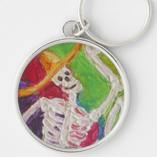 Dia De Los Muertos Skeleton Silver-Colored Round Key Ring