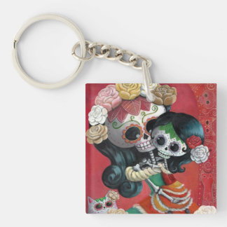 Dia de Los Muertos Skeletons Mother and Daughter Square Acrylic Keychain