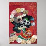 Dia de Los Muertos Skeletons Mother and Daughter Poster