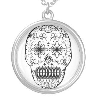 Dia de los Muertos Skull Round Pendant Necklace