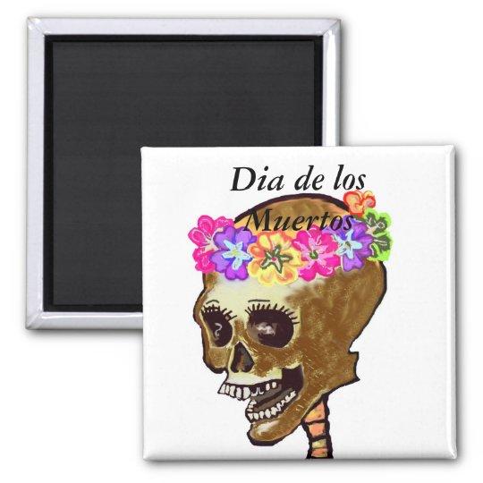 Dia de los Muertos skull Square Magnet