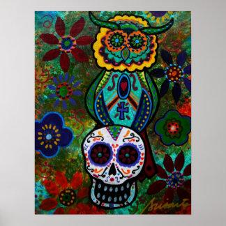 dia de los muertos skulls owl poster