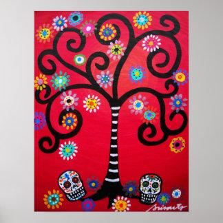 dia de los muertos skulls poster
