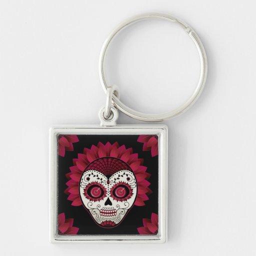 Dia de los Muertos spiderweb red flower skull Keychain