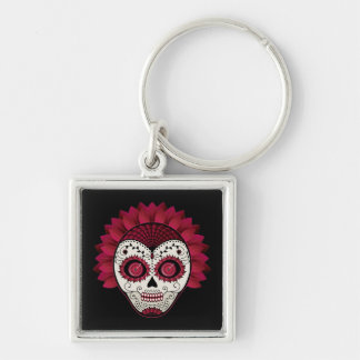 Dia de los Muertos spiderweb red flower skull Silver-Colored Square Key Ring
