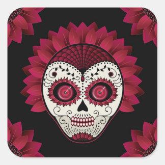 Dia de los Muertos spiderweb red flower skull Sticker