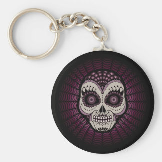 Dia de los Muertos spiderweb skull Basic Round Button Key Ring