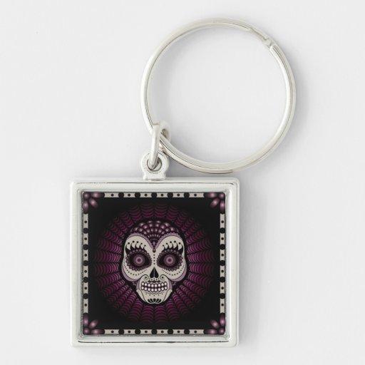 Dia de los Muertos spiderweb skull Key Chains
