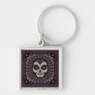 Dia de los Muertos spiderweb skull Silver-Colored Square Key Ring