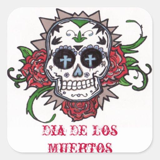 dia de los muertos square stickers