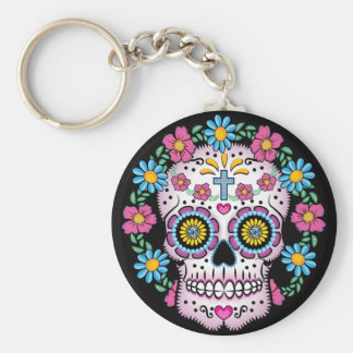 Dia de los Muertos Sugar Skull Basic Round Button Key Ring