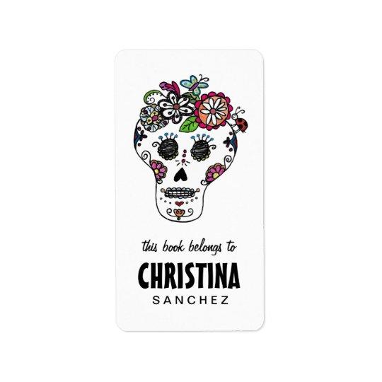 Dia de Los Muertos, Sugar Skull, Bookplates Label